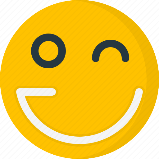 Emoticons, smiley, face, wink, smile, happy icon