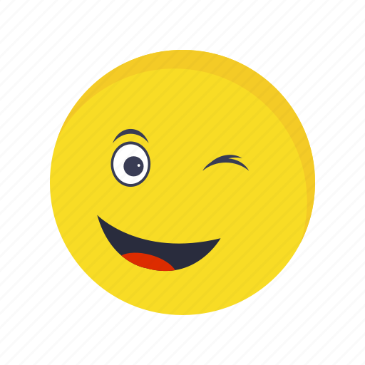 emoticon, face, wink icon