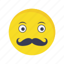 emoji, emoticon, face, moustache icon