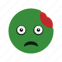emoticon, face, smiley, zombie icon