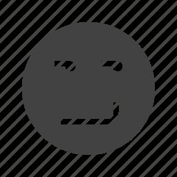 expression, happy, mood, smile, smirk, smirking, view icon