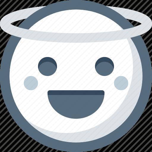 angel, emoticon, face, happy, smile, smiley icon