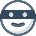 bandit, emoticon, face, mask, smile, smiley icon