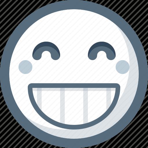 big, emoticon, face, grin, happy, smile, smiley icon