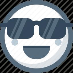 cool, emoticon, face, smile, smiley, sunglasses icon