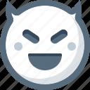 devil, emoticon, evil, face, smile, smiley icon