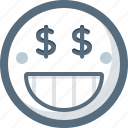 emoticon, face, greed, money, smile, smiley icon