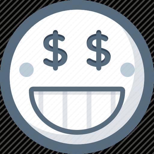 emoticon, face, greed, money, smile, smiley icon