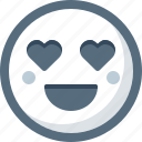 emoticon, face, heart, in love, love, smile, smiley icon