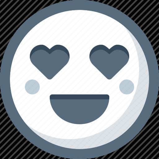 emoticon, face, heart, in love, love, smile, smiley icon