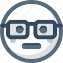 emoticon, face, glasses, nerdy, smart, smile, smiley icon