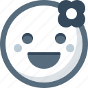 emoticon, face, flower, romantic, smile, smiley icon