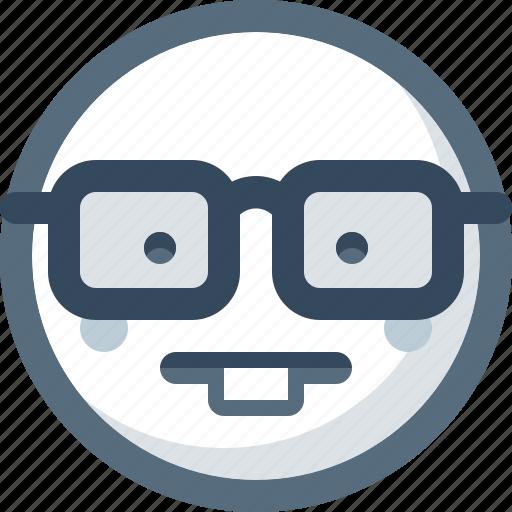 emoticon, face, glasses, smile, smiley, wunderkind icon