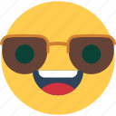 cool emoji, cool emoticon, cool face, cool smiley, smiley icon