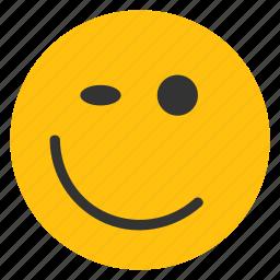 emoticons, happy smiley, smiley, wink, winking smiley icon