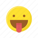 character, emoticon, expression, face, mocking, tongue out icon