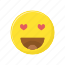 character, emoticon, expression, face, heart, love struck icon