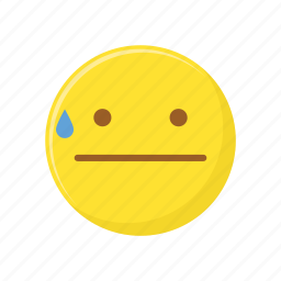 character, emoticon, expression, face, sweat icon