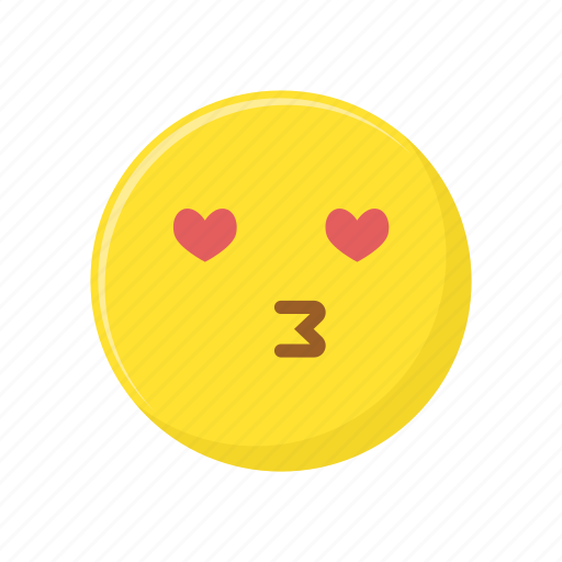 character, emoticon, expression, face, heart, kiss icon