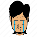 avatar, crying, emotion, face, man, person icon