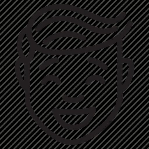 Face, feelings, male, avatar, happy icon