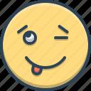 cheeky, emoji, immodest, nonchalant, shameless icon
