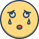 bemoan, cry, emoji, mourn, sad, weep