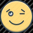 emoji, expression, eyelid, face, signals, wink