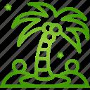 beach, trees, palm, island, summer