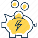 bank, economy, electricity, energy, heating, money, pig bank icon