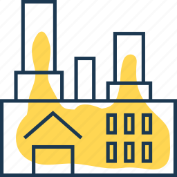 electricity, heating, house, industry, plant, power, station icon