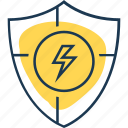 electricity, energy, guard, power, protect, save, shield icon