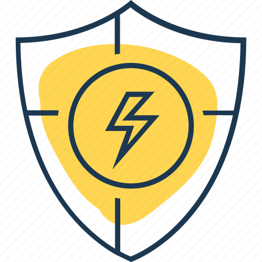 electricity, energy, guard, guardar, power, protect, save, shield icon