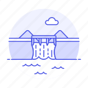 1, dam, energy, green, hydraulic, hydro, plant, power, renewable, station, water icon