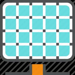 alternative, collector, energy, panel, power, renewable, solar, supply icon