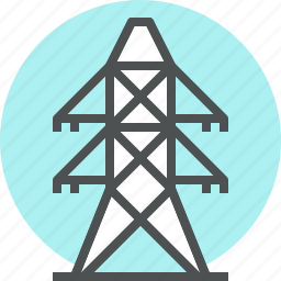 electric, electrical, electricity, pillar, powerline, pylon, tower icon