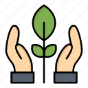 conservation, energy, hand, plant icon