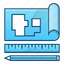 blueprint, engineering, paper, plan, tools icon