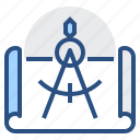 blueprint, design, draft, plan, tool icon