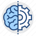 brain, engineering, gear, thinking, mind icon