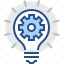 abstract, bulb, creative, engineering, gear, idea icon