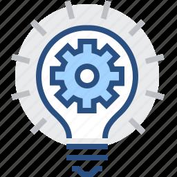 abstract, bulb, creative, engineering, gear, idea icon