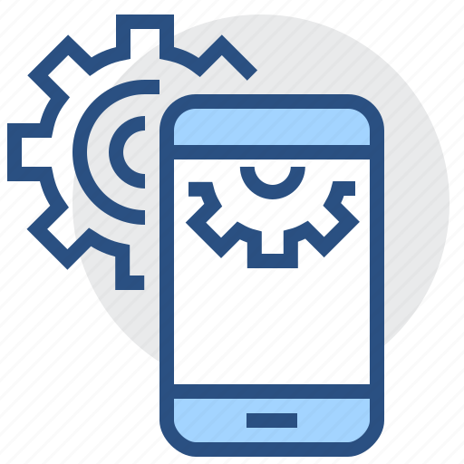 engineering, gear, mobile, phone, settings, smartphone icon