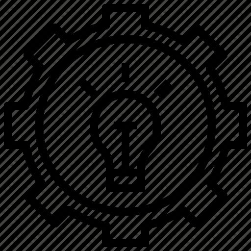 cogwheel, design, edit, gear, idea, invention, light icon