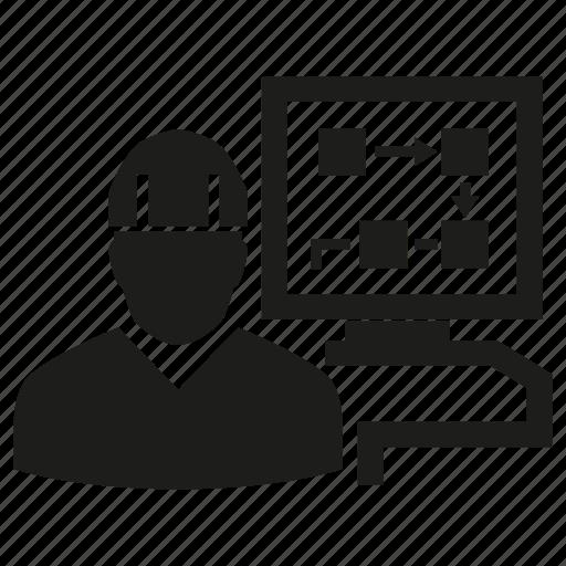 computer, diagram, engineer, mechanic, monitoring, programmer, technician icon