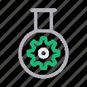 beaker, cogwheel, flask, gear, science