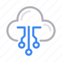 artificial, cloud, intelligence, online, storage icon