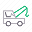 crane, hook, lifter, machinery, vehicle icon