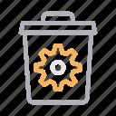 cogwheel, delete, engineering, gear, trash