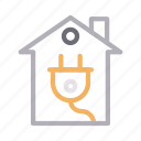 building, electric, home, house, plug